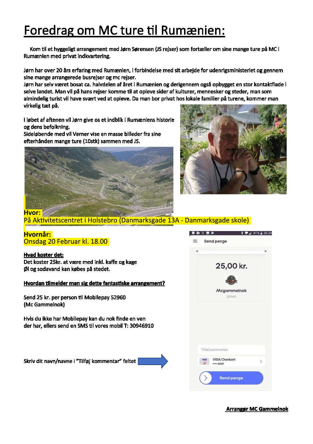 Foredrag om MC ture til Rumænien